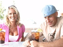 Big tits milf Bridgette Lee has a drink with guy then sucks