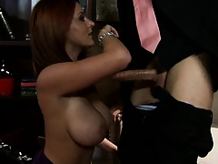 Sophie Dee sucking cock deep throat titty fuck