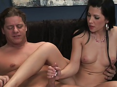 Small tits latina handjob with Rebeca Linares and reverse cowgirl jumping on dick