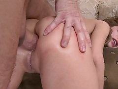 Prepping Aleksa ass for deep anal doggy style with a2m