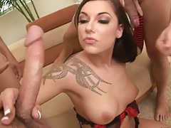 Group gang bang blowjob with Chayse Evans loaded full of huge cock