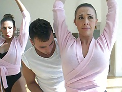 Big tits Kayla and Chanel are getting ballet lessons