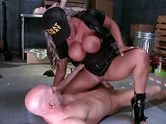Cowgirl fucking big tits Carmen on the floor