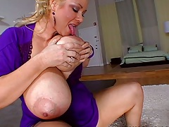 Huge tits Samantha 38G showing off her big tits and fingering self