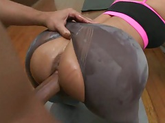Yoga instructor fucks clothed sluts