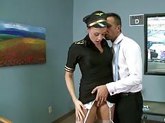 Big tits in uniform a sexy flight attendant