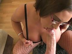 Pov blowjob from Emma Butt milf wearing glasses
