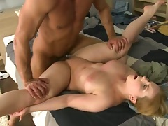 Front penetration with Eve Fox spreading her legs wide