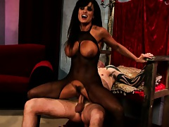 Brunette big tits vampire babe sitting on dick