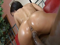 Ebony hottie Aliana Love cowgirl sitting on cock and doggy style